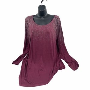 Seven7 Long Sleeve Sparkle Top, Size XL NWT